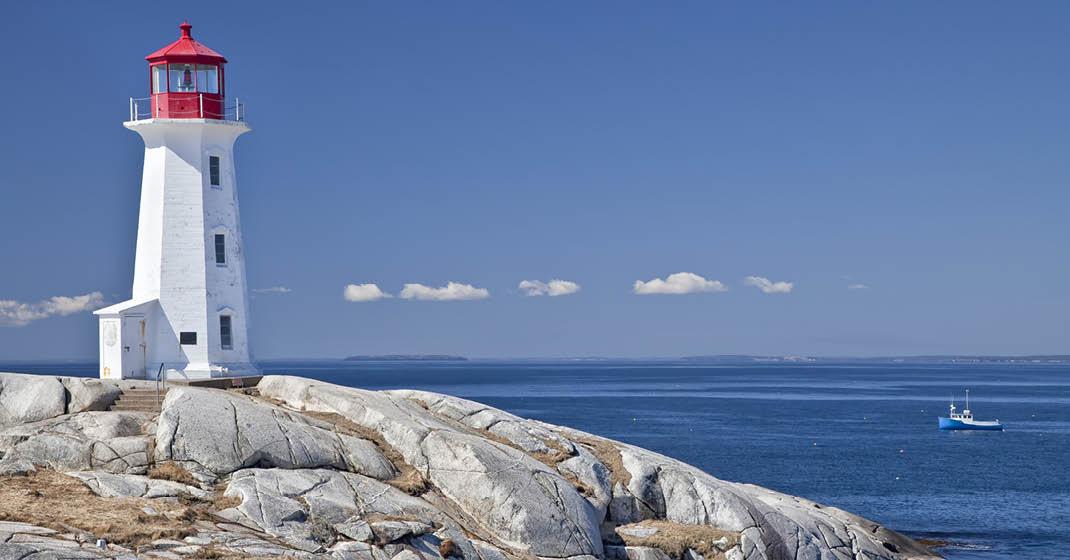 Fischerdorf Peggy`s Cove, Leuchtturm bei Halifax