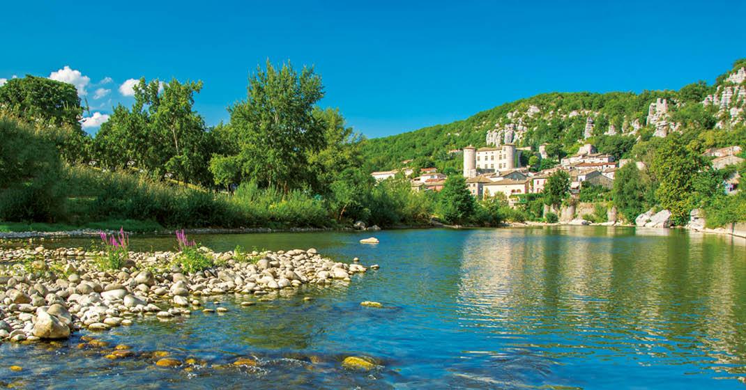 Landschaft entlang der Rhone