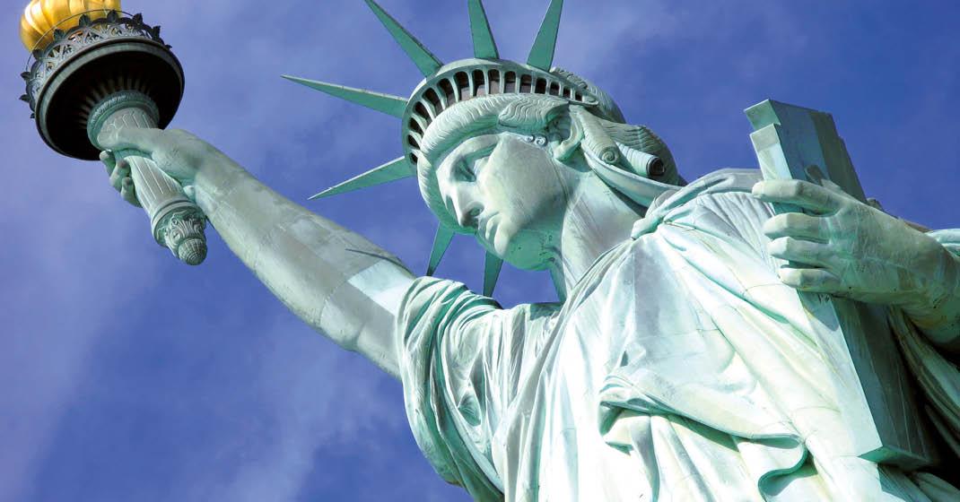 New York und Hudson Freiheitsstatue