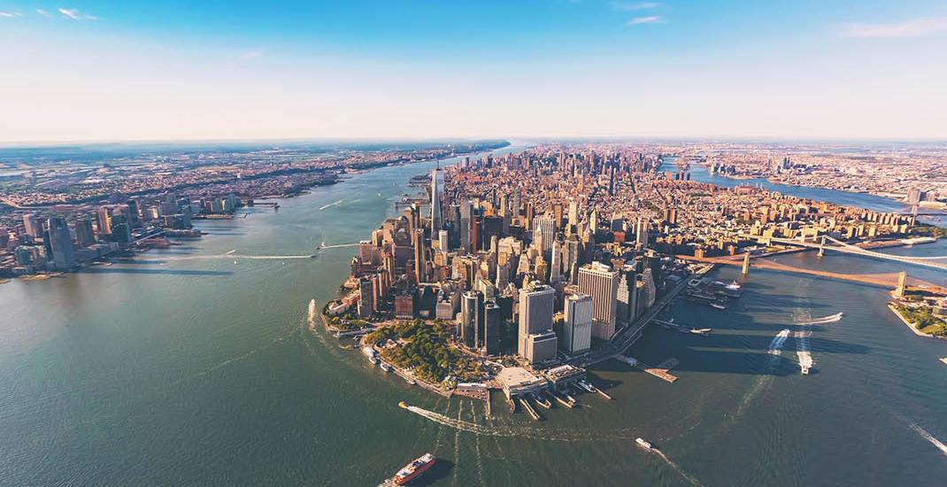 New York und Hudson Manhattan Luftbild
