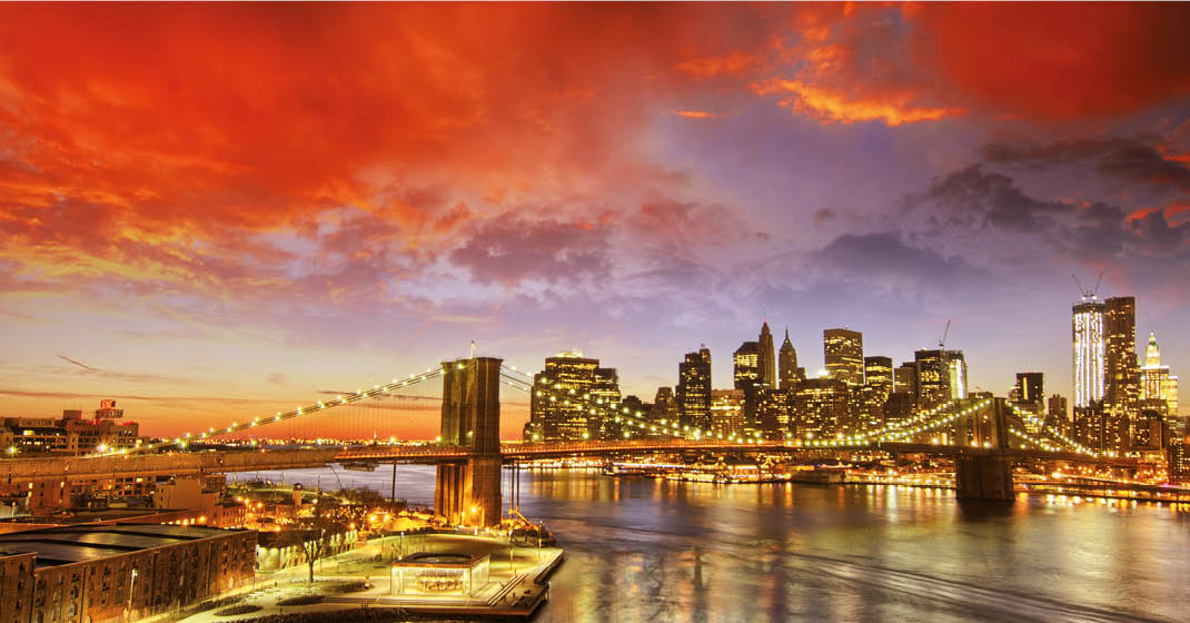 New York und Hudson Skyline NY