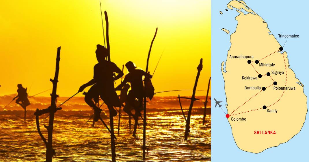 Sri Lanka_Stelzenfischer und Karte