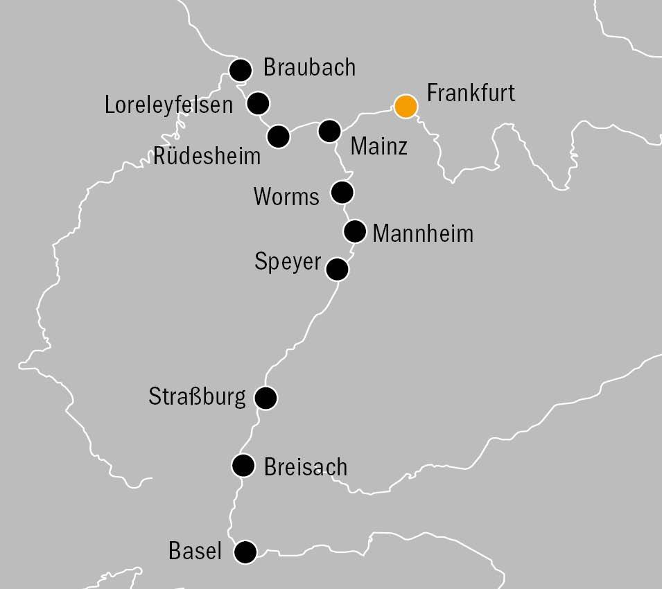 MS Rhein Prinzessin Dreiländer Kreuzfahrt Routenkarte KF9138 - MS RHEIN PRINZESSIN - Dreiländer-Kreuzfahrt auf dem Rhein