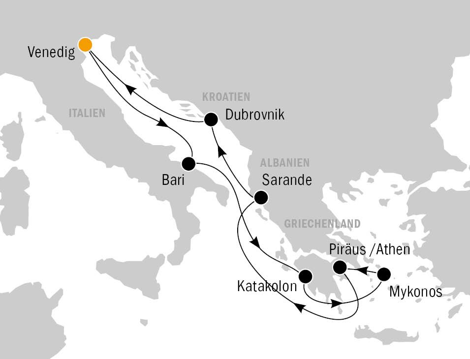 Routenkarte MSC Poesia KF8466 - MSC POESIA - Bezaubernde Perlen im Mittelmeer
