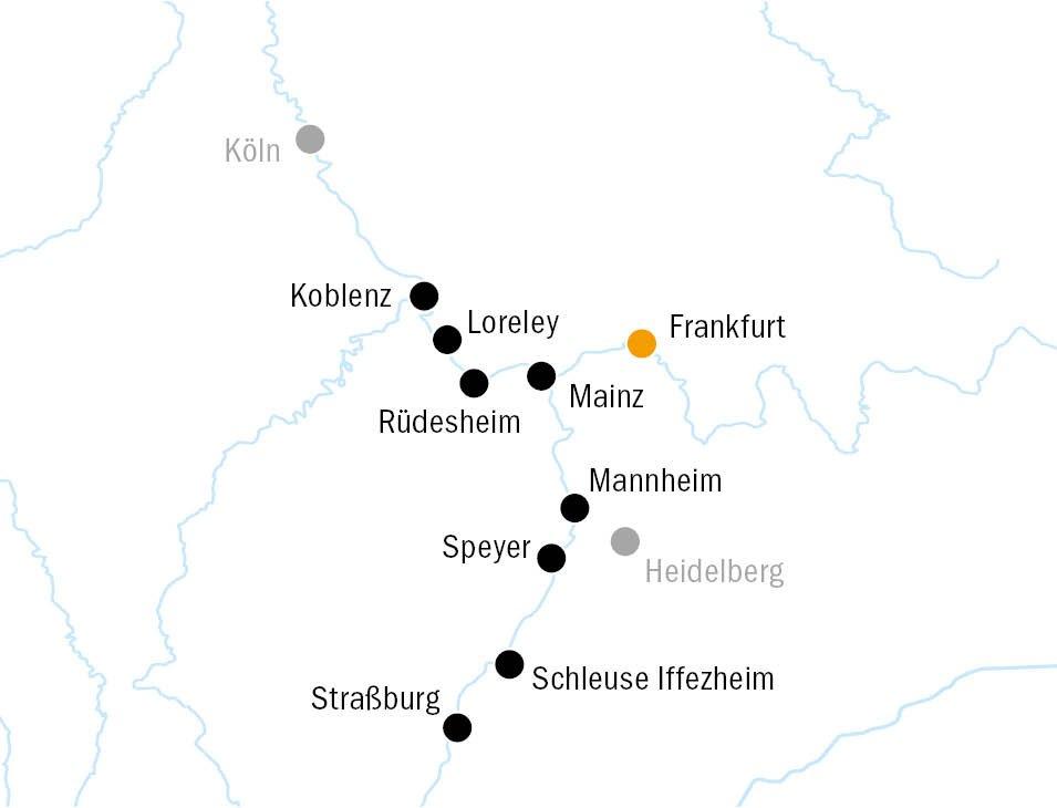 Routenkarte RheinPrinzessin KF8529 - MS RHEIN PRINZESSIN - Schnupperreise Rhein