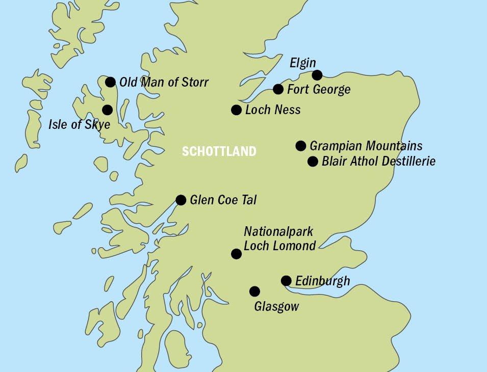 Schottland BU8523 Karte - SCHOTTLAND – Große Rundreise mit Insel Skye