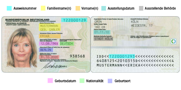personalausweis erklaerung - Die Ausweisdaten