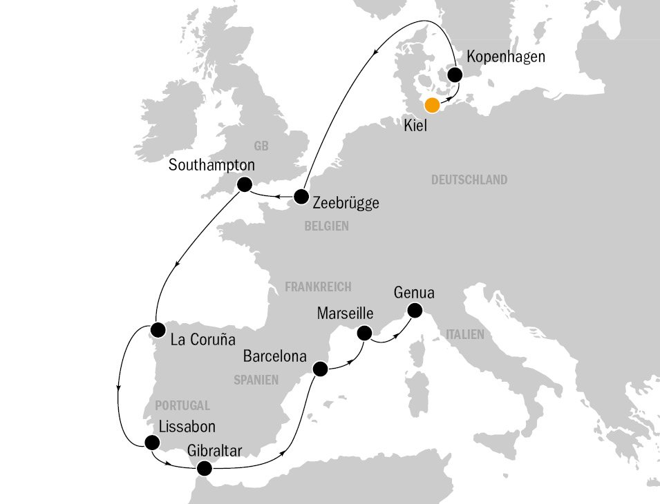 KF8686 MSC Preziosa Routenkarte - MSC PREZIOSA - von Kiel nach Genua