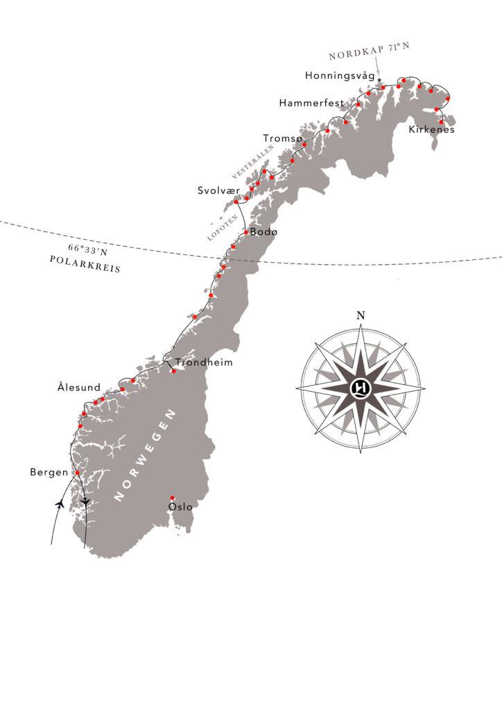 Routenkarte Nordlys 724x1024 - MS NORDLYS - Herbst mit Hurtigruten