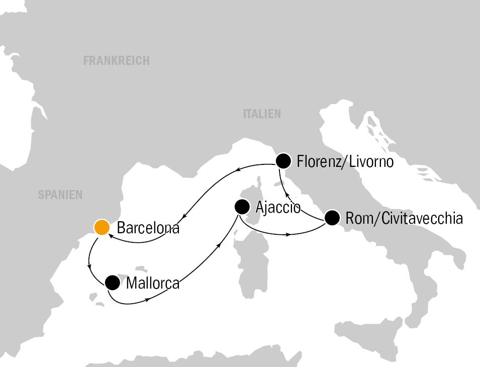 KF8705 AIDAprima Routenkarte - AIDAprima - Mittelmeerkreuzfahrt und City Trip Barcelona