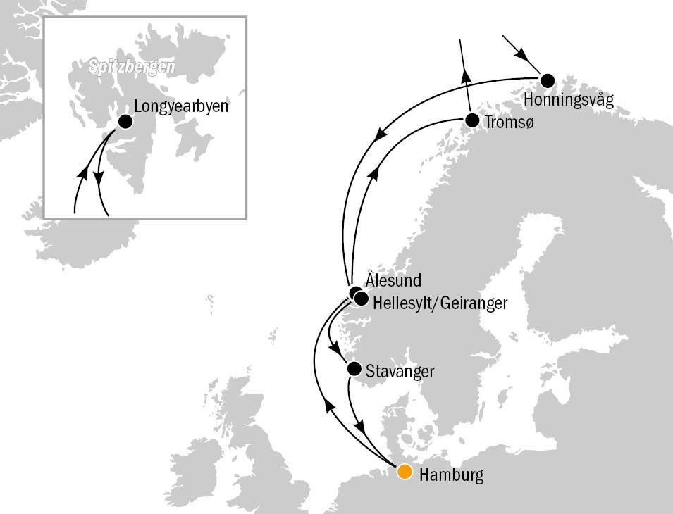 MSC Meraviglia Routenkarte 1 - MSC MERAVIGLIA - Sommer in Norwegen