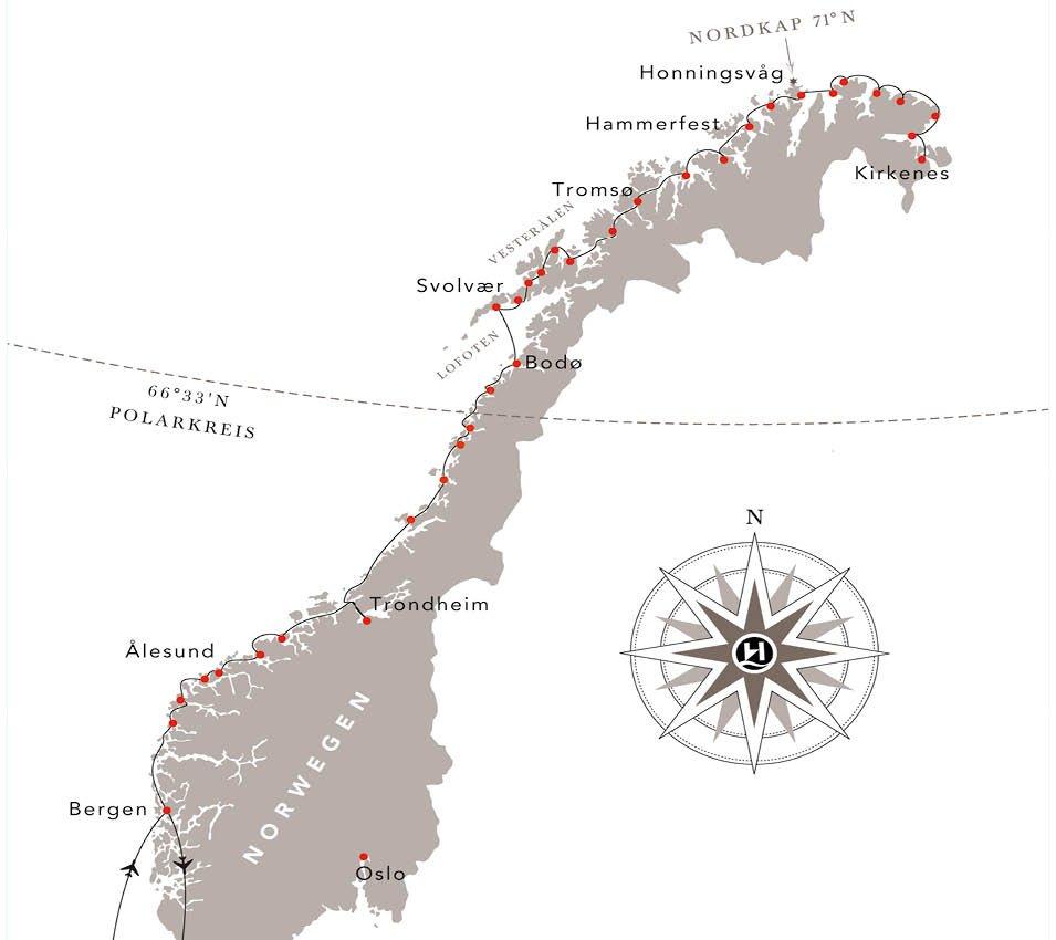 MS Nordkapp, Routenkarte