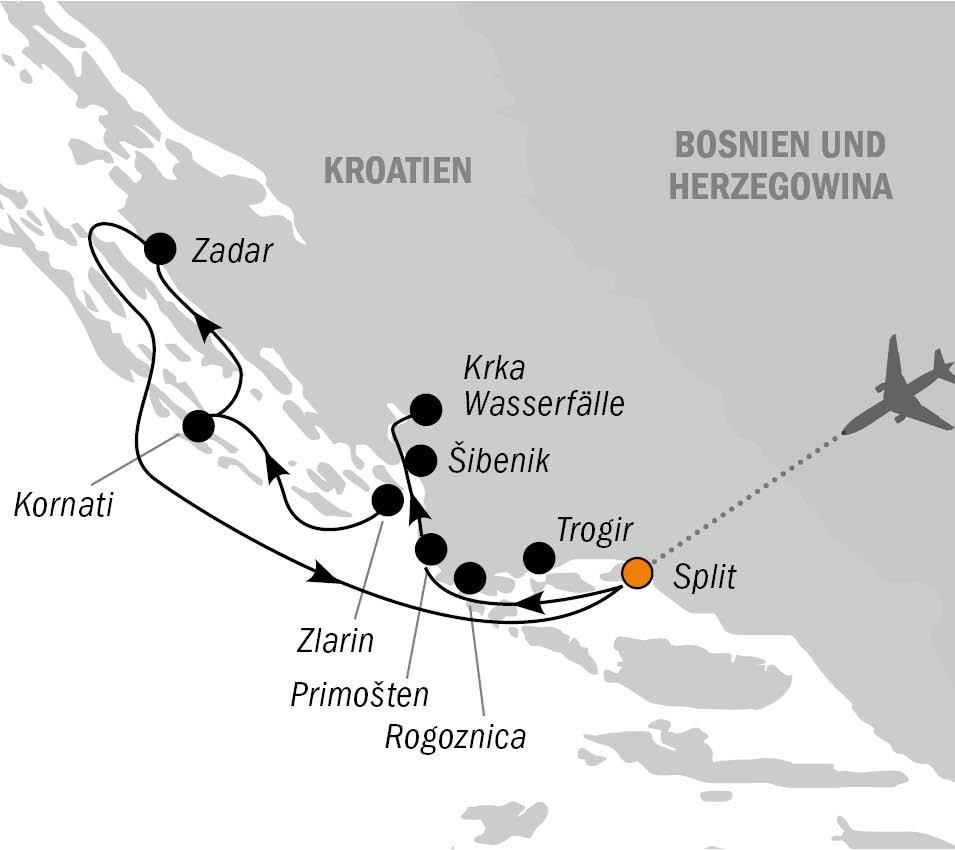 MY Spalato Routenkarte Nordroute - MOTORYACHT SPALATO – Dalmatiens traumhafte Inselwelt