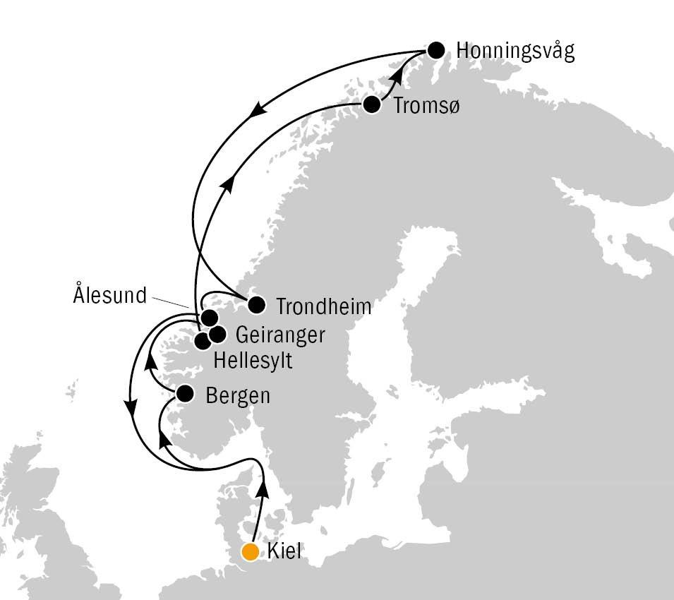 Mein Schiff 4 Routenkarte Norwegen und Nordkap