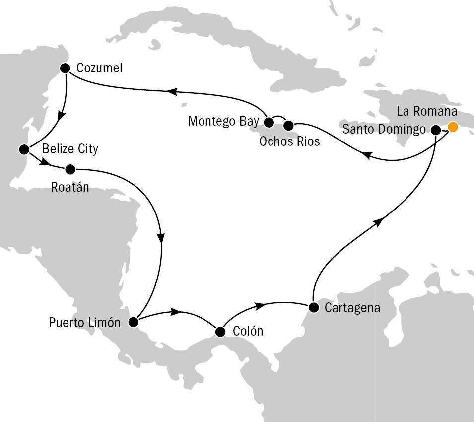 Mein Schiff 6 Karibik, Routenkarte