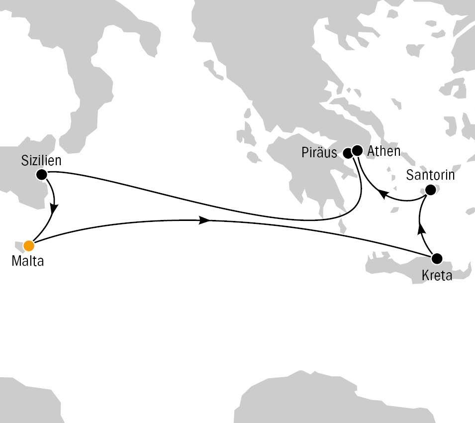 Mein Schiff Herz Routenkarte Kanaren und Griechenland