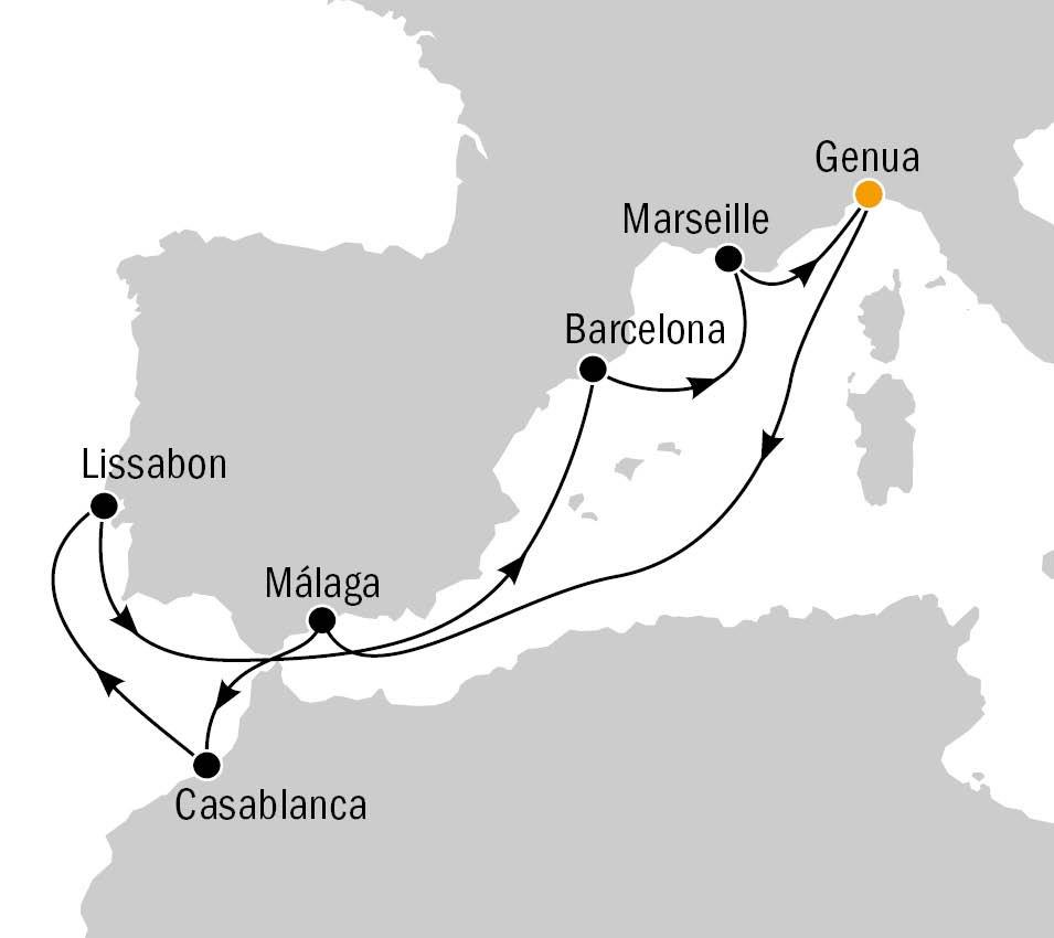 Routenkarte MSC Preziosa
