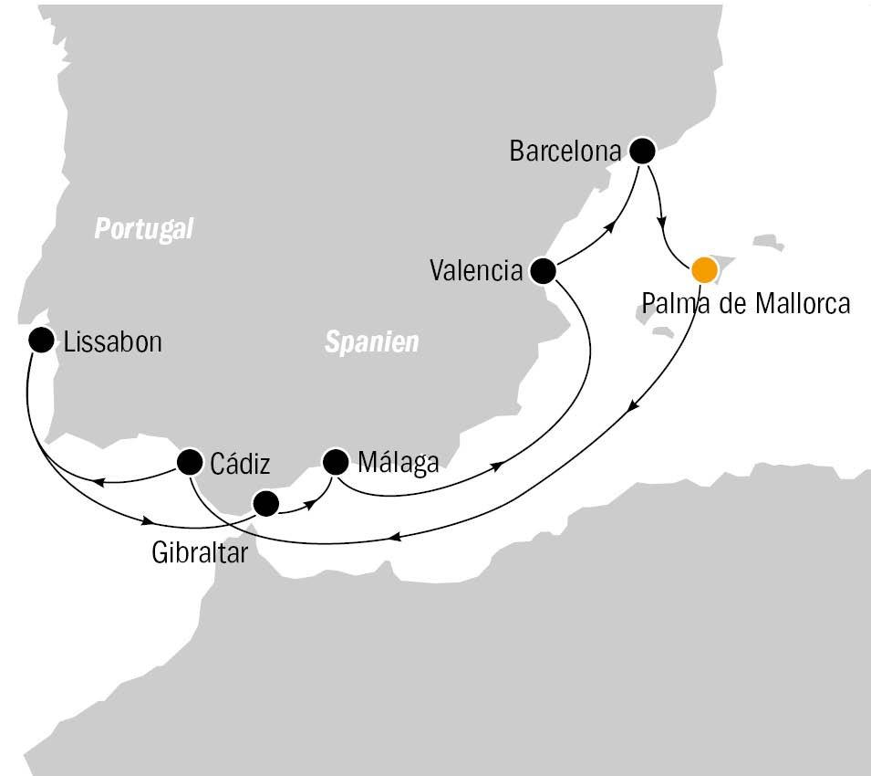 Routenkarten Mein Schiff 2 Westliches Mittelmeer
