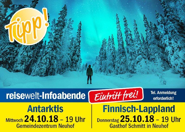 Infoabende Antakrtis und Finnisch Lappland bei reisewelt