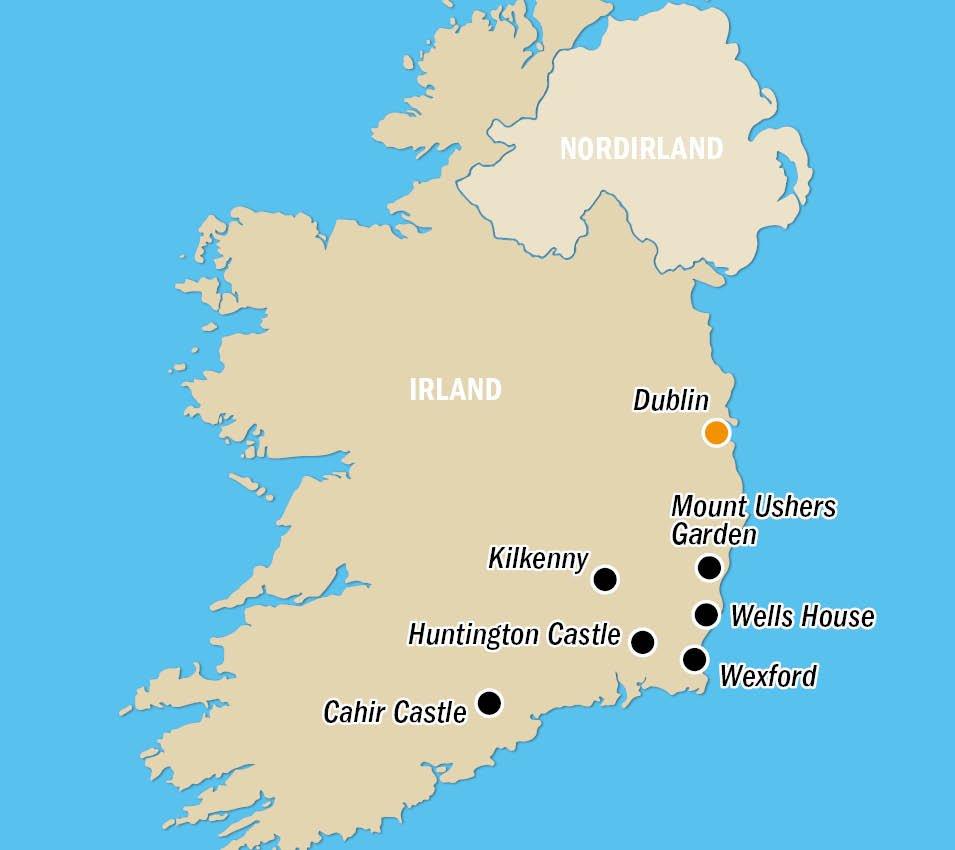 Irlands Schlösser und Gärten_Karte