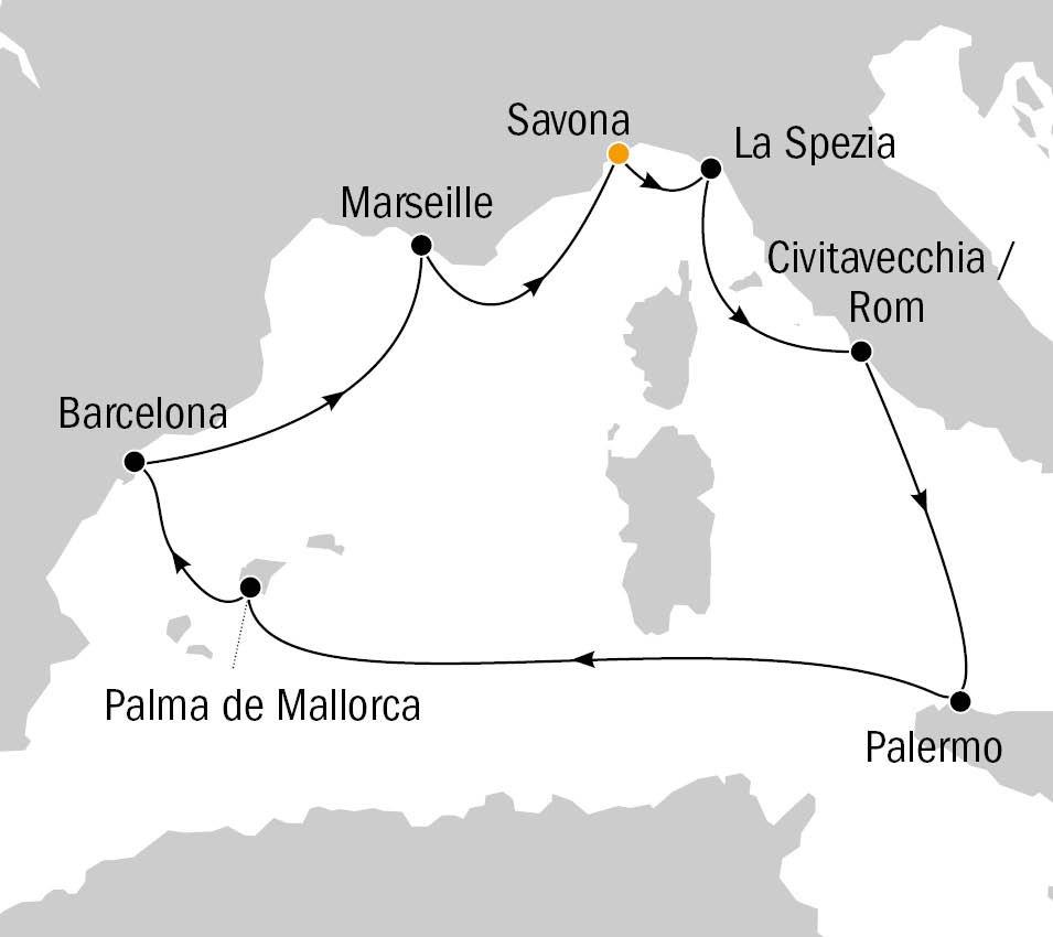Costa Diadema Routenkarte Mittelmeer